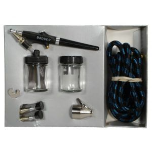 350-4 - Badger Air Brush Kit (w/extra 3/4oz bottle) - Aerógrafo de mezcla externa. Viene con difusores fino, mediano y grueso